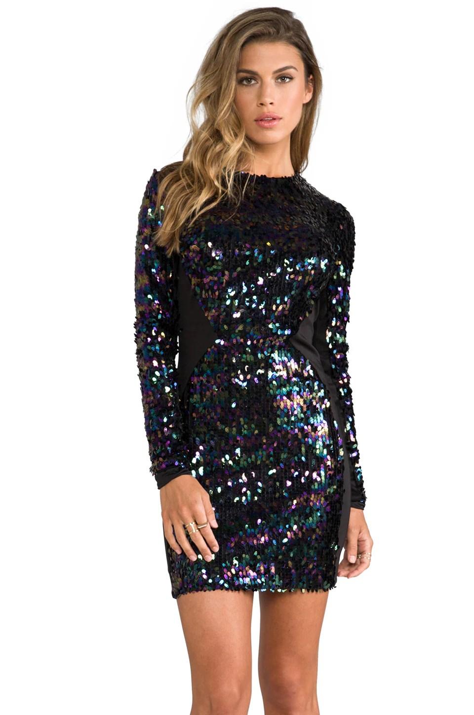 DRESS THE POPULATION Ryan Long Sleeve Sequin Dress in Black Iridescent  REVOLVE