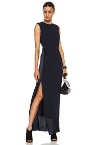 Acne Studios Pal Crepe Maxi Viscose Dress in Blue