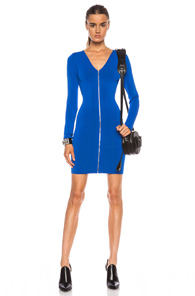 Alexander Wang Front Zip Fitted Long Sleeve Rayon-Blend Dress in Blue