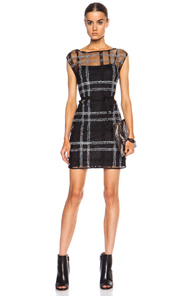 Calvin Rucker Living On The Edge Nylon-Blend Dress in Black,Checkered & Plaid