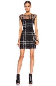 Calvin Rucker Living On The Edge Nylon-Blend Dress in Black,Checkered & Plaid