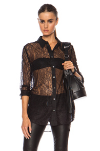 Equipment Contrasted Reese Nylon Top in Black