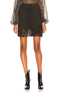 FRAME Fringe Overlay Skirt in Black
