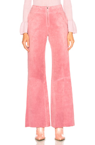 Victoria Beckham Paneled Flare Suede Trousers in Pink