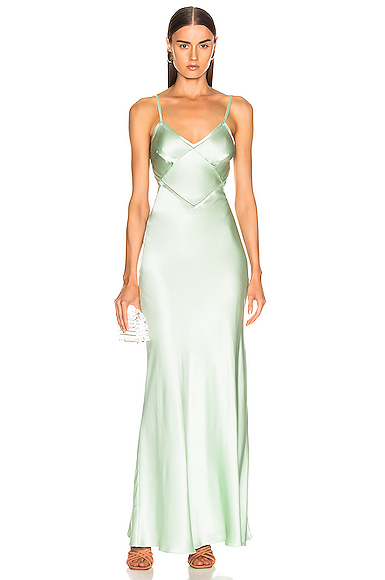ALBERTA FERRETTI Slip Dress in Green. - size 38 (also in 44)