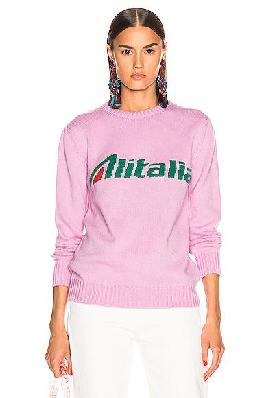 ALBERTA FERRETTI x Alitalia Logo Sweater in Pink. - size XS (also in L,M,S)