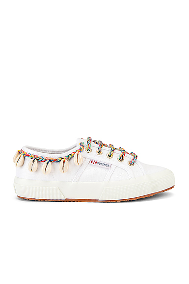 ALANUI x SUPERGA Low Top Cowrie Shells Sneaker in White. - size 39 (also in 37,38,40,41)