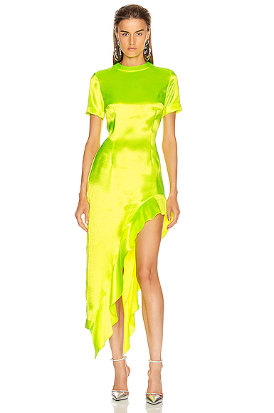 AREA Ruffle Hem Dress in Yellow. - size M (also in )