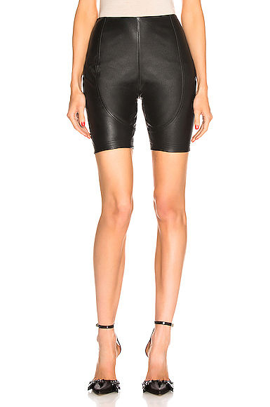 AREA Leather Bike Short in Black. - size XS (also in S,M,L)