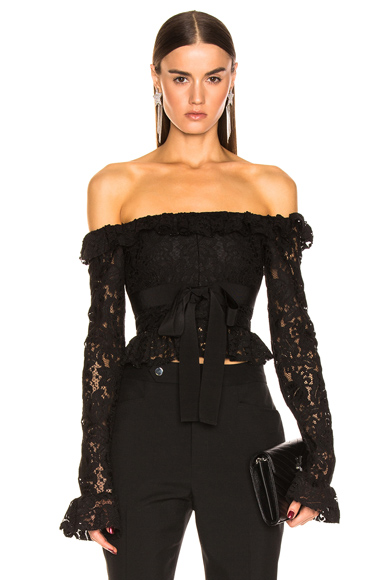 BROGNANO Off the Shoulder Lace Top in Black. - size 46 (also in )