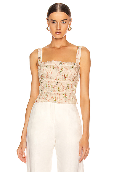 Brock Collection Papiro Woven Top in Floral,Neutral. - size 6 (also in 0,4,8)