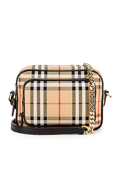 Burberry Small Camera Bag in Neutral,Plaid.