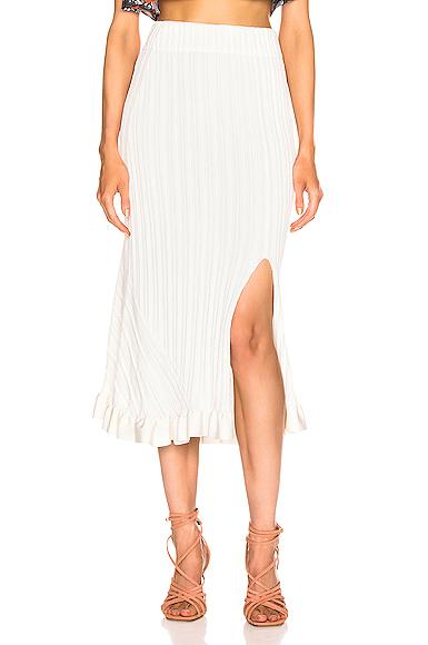 Chloe Ruffle Midi Skirt in White. - size XS (also in S,M,L)