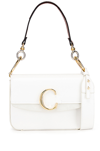 Chloe C Double Carry Bag in White.