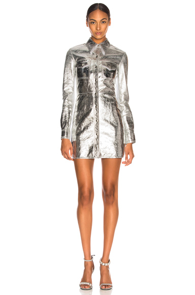 CALVIN KLEIN 205W39NYC Metallic Leather Western Shirt Dress in Metallic Silver. - size 40 (also in )
