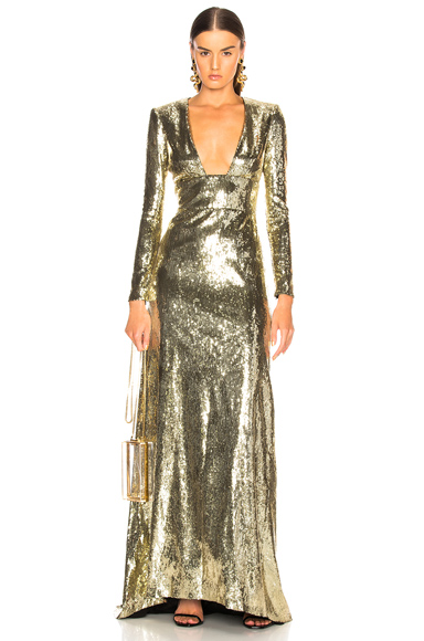 Dundas Open Back Sequin Gown in Metallics. - size 38 (also in 40)