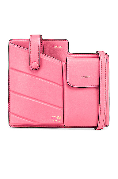 Fendi Mini Bustine Two Pocket Crossbody Bag in Pink.