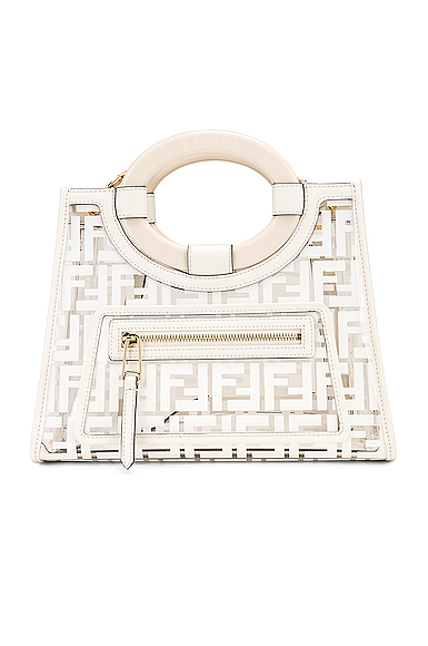 Fendi Mini Runaway Shopper Tote in White.