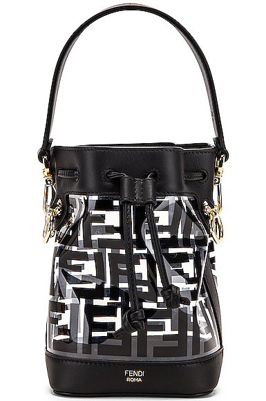Fendi Mini Mon Tresor Logo Crossbody Bag in Black.