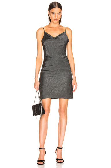 fleur du mal Short Cowl Neck Slip Dress in Metallic,Gray. - size XS (also in )