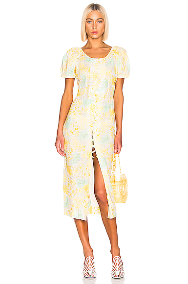 Cult Gaia Charlotte Dress in Floral,Yellow. - size S (also in XS)