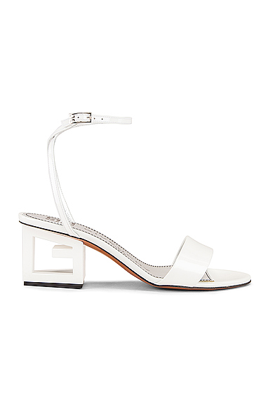 Givenchy Patent Leather Triangle Heel Strap Sandals in White. - size 39 (also in 37,38,39.5,40,41)