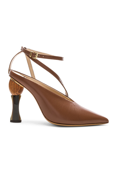 JACQUEMUS Leather Faya Heels in Brown. - size 39 (also in 38,38.5,39.5,41)