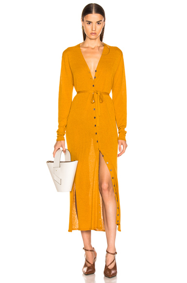 Lemaire V Neck Cardigan Dress in Yellow. - size L (also in )