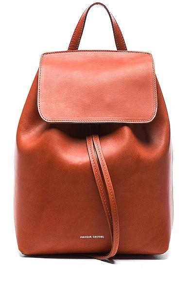 Mansur Gavriel Mini Backpack in Brown.