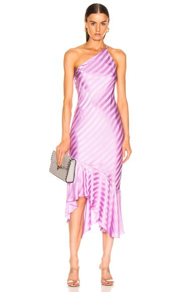 Michelle Mason One Shoulder Ruffle Hem Dress in Purple. - size 2 (also in 0,4,6,8)