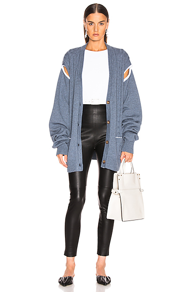 Maison Margiela Cutout Chunky Cardigan in Blue. - size XS (also in S)