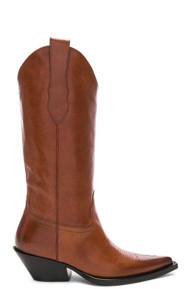 Maison Margiela Mid Leather Western Boots in Brown. - size 39 (also in 36,36.5,37,38,41)