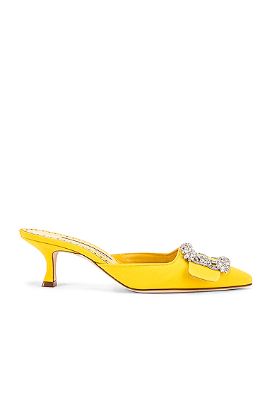 Manolo Blahnik Maysale 50 Jewel Mule in Yellow. - size 41 (also in 36,36.5,37,38)