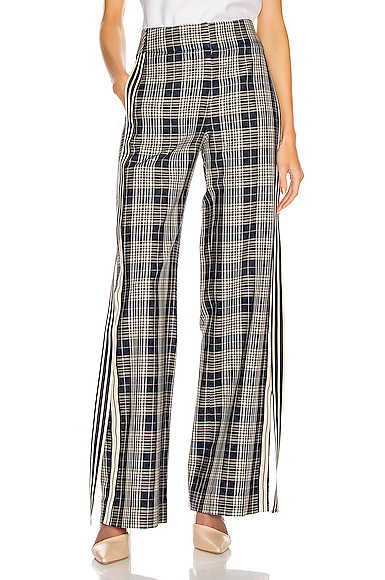 Monse Racing Stripe Vintage Pant in Blue,Plaid. - size 8 (also in 2)