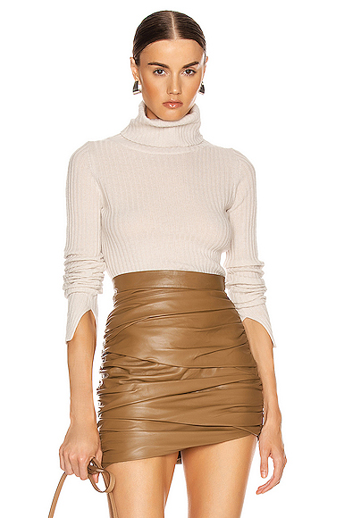 NILI LOTAN Myla Cashmere Turtleneck Sweater in Neutral. - size S (also in L,M,XS)
