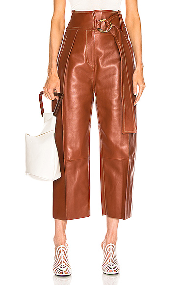 Petar Petrov Haena Wide Leg Leather Pant in Brown. - size 38 (also in 40)