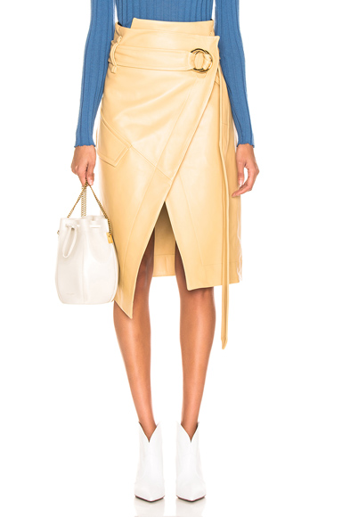 Petar Petrov Leather Rita Skirt in Neutral. - size 38 (also in 40)