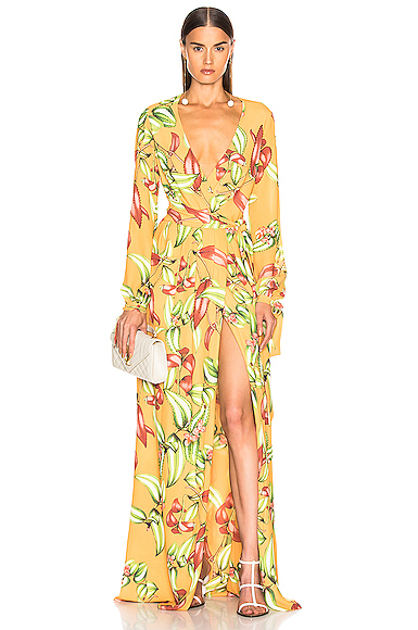 PatBo Zebrina Print Beaded Maxi Wrap Dress in Orange. - size 2 (also in 0,4,8)