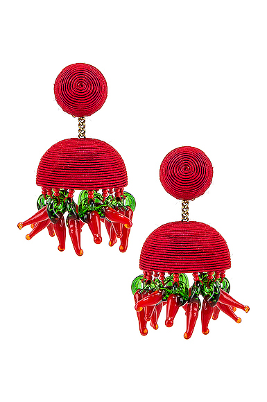 Rebecca De Ravenel Paprika Earrings in Red.