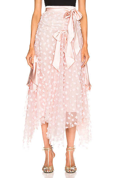 Rodarte Embroidered Bow Skirt in Pink. - size 4 (also in 2,6)