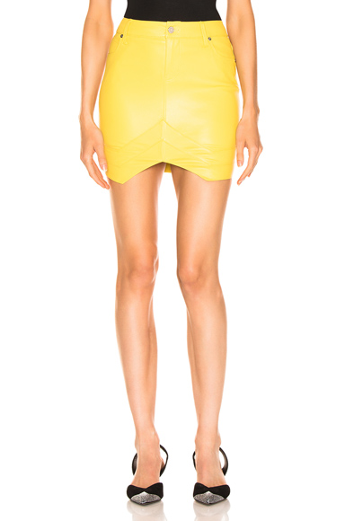 RtA Tempest Leather Skirt in Yellow. - size 0 (also in 2,4,6)