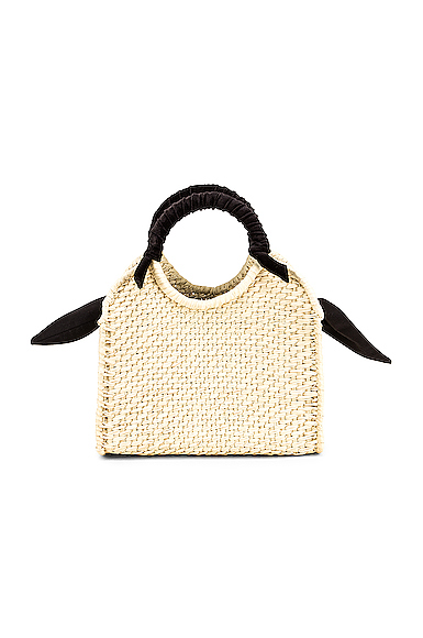SENSI STUDIO Midi Handbag With Velvet Detail in Neutral.