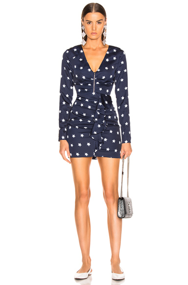 self-portrait Star Printed Long Sleeve Dress in Blue,Stars. - size 0 (also in )