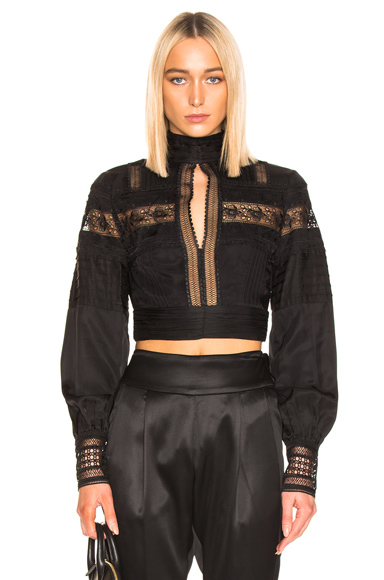 self-portrait Lace Trimmed Top in Black. - size 2 (also in 4,6,8)