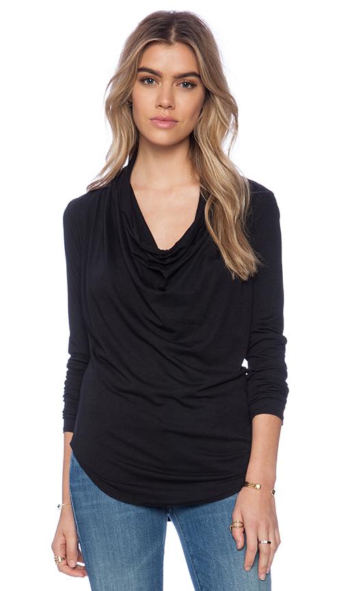 Bobi Modal Jersey Long Sleeve Cowl Neck Top in Black