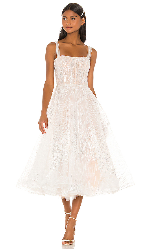 Bronx and Banco Mademoiselle Bridal Midi Dress in White. - size L (also in XS,S,M)