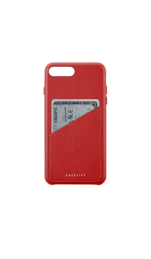Casetify Leather Card iPhone 6/7/8 Plus Case in Red.