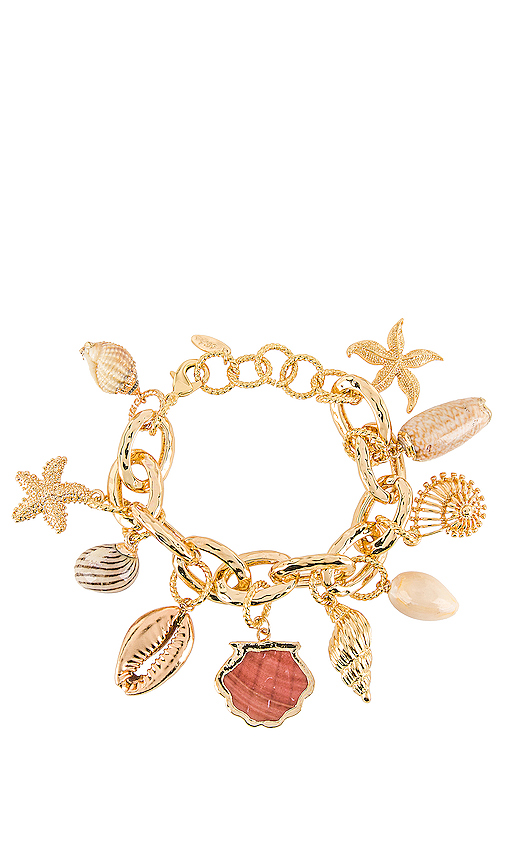 Ettika Shell Bracelet in Metallic Gold.