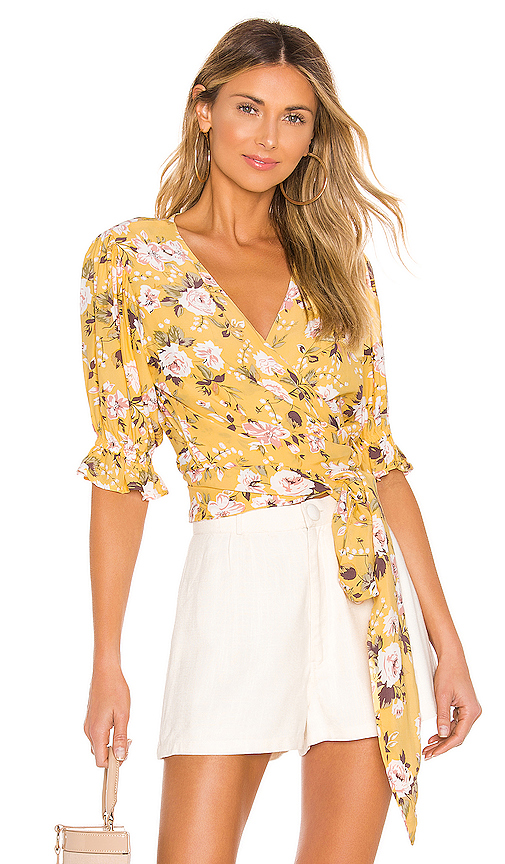 FAITHFULL THE BRAND Mali Wrap Top in Yellow. - size XS (also in S,M)