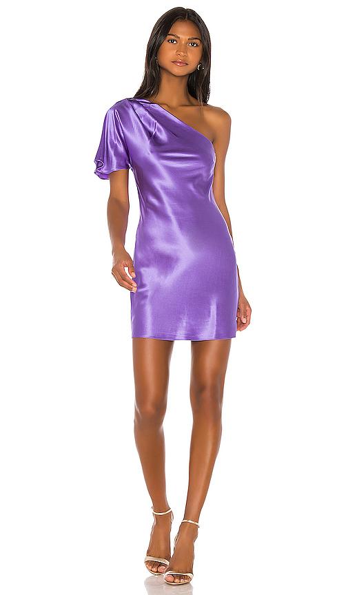 fleur du mal One Shoulder Bias Mini Dress in Purple. - size 6 (also in 0,2,4,8)